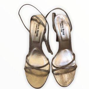 Taryn Rose Gold Ankle Strap Sandal Size 7